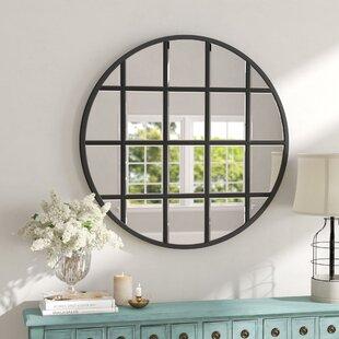 40 round mirror reclaimed wood round wall yatendra round beveled window accent mirror 40 in wayfair