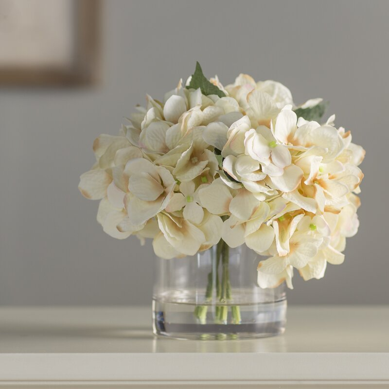Hydrangea In Water Floral Arrangement In Glass Vase Reviews