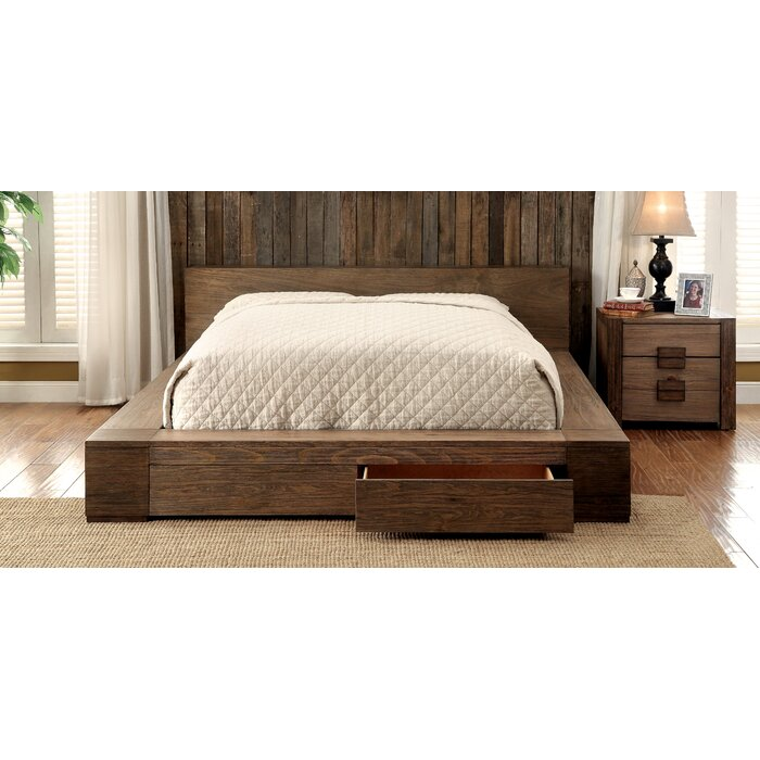 . Arianna Solid Wood Storage Platform Bed