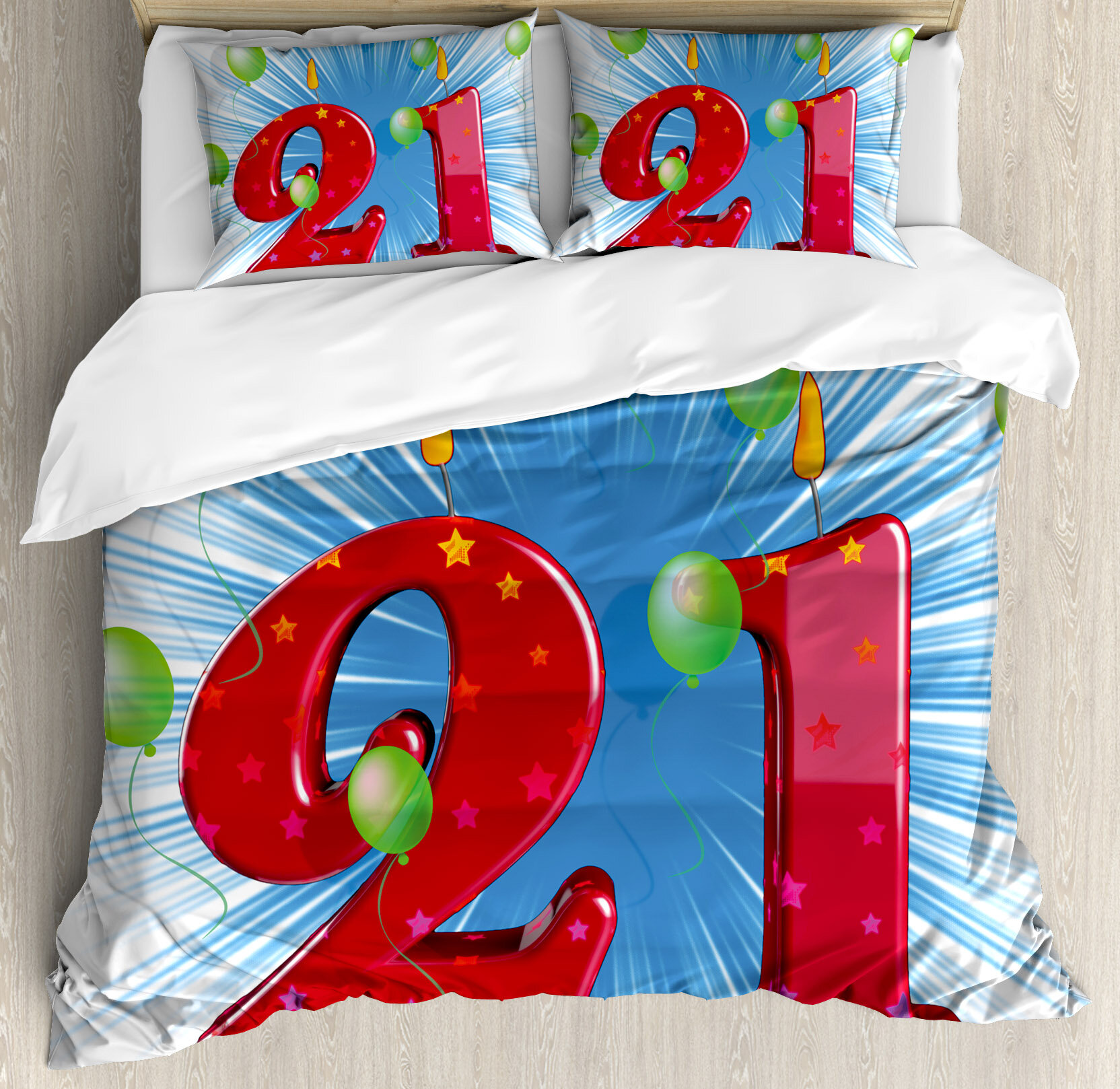 Ambesonne 21st Birthday Decorations Abstract Backdrop With Balloons Party Duvet Cover Set
