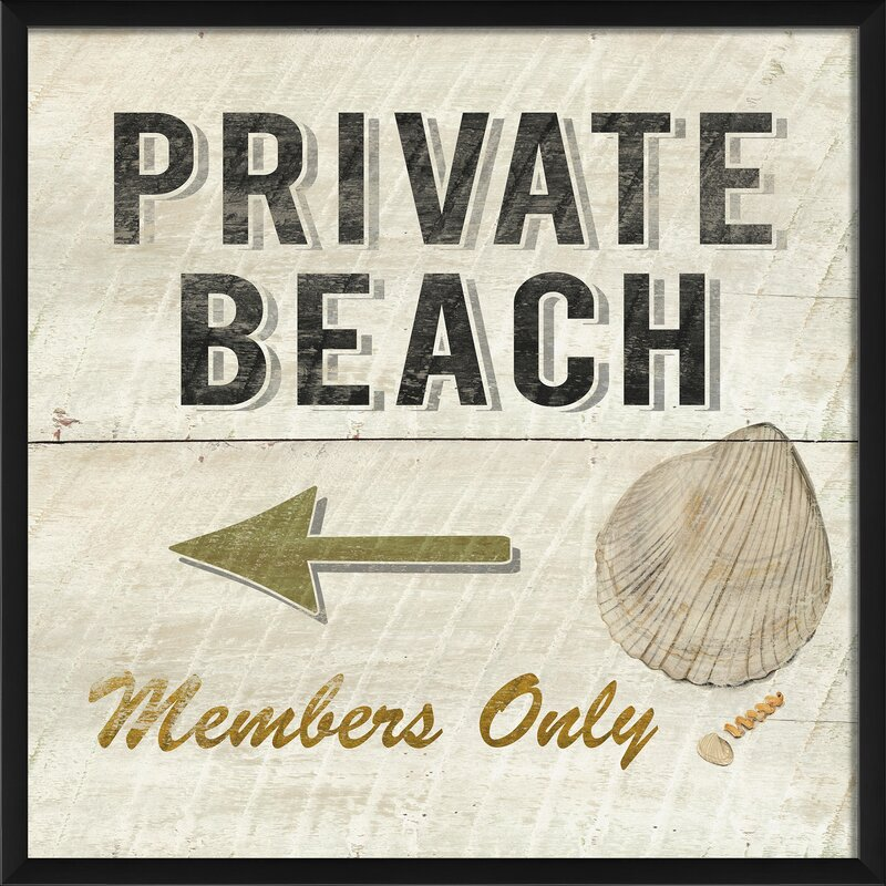 Private Beach Members Only Framed Textual Art