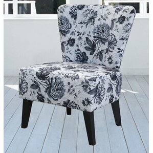 Briscoe Grey Flower Slipper Chair by Charlton Home