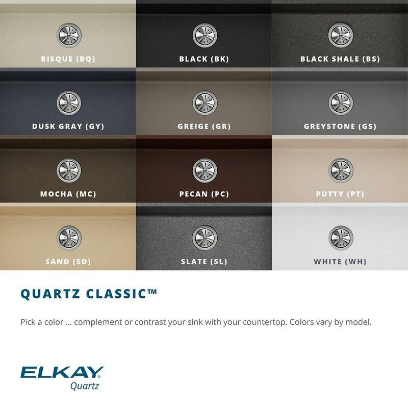"""Kitchen Sink 19 X 33: Elkay Quartz Classic 33"""" X 19"""" Undermount Kitchen Sink"""
