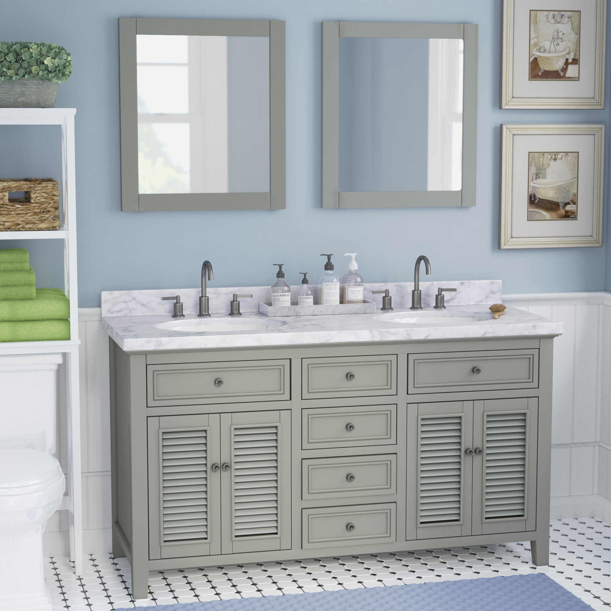 "Laurel Foundry Modern Farmhouse Braselton Solid Wood 61"" Double Bathroom Vanity Set with Mirror 
