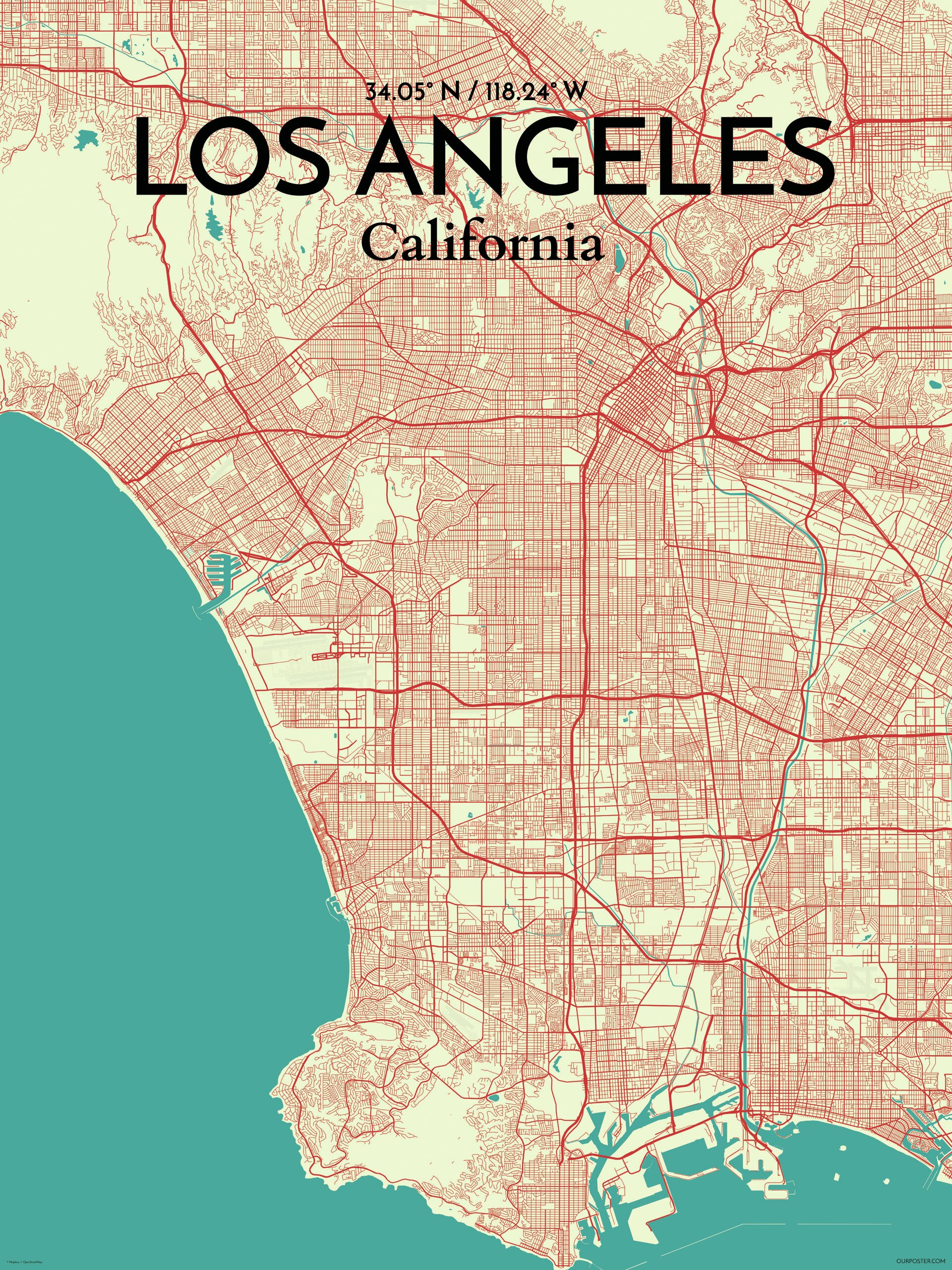 graphic regarding Printable Map of Los Angeles named Los Angeles Metropolis Map Picture Artwork Print Poster inside Tricolor