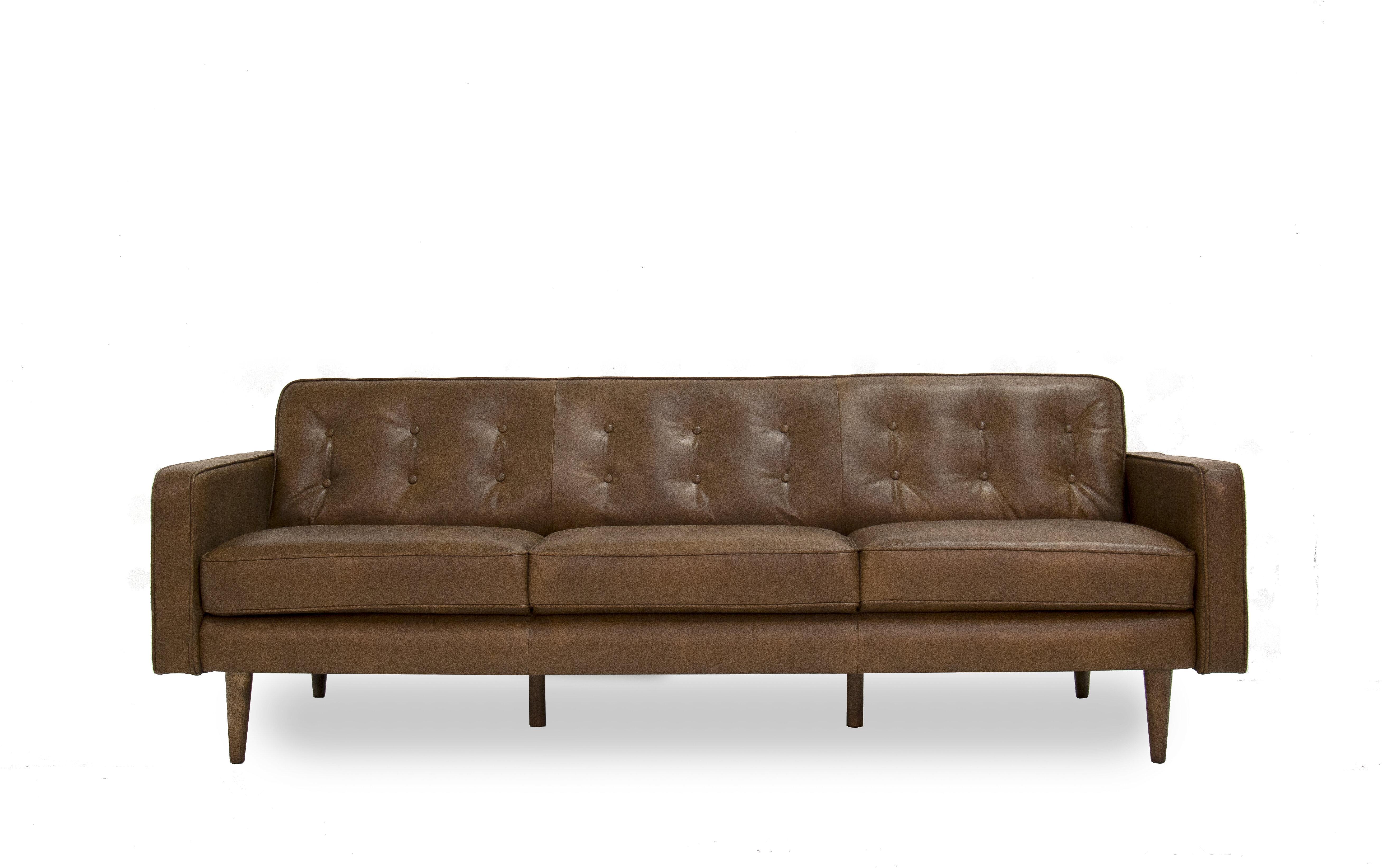 Mercury Row Louane Mid Century Modern Leather Sofa Wayfair