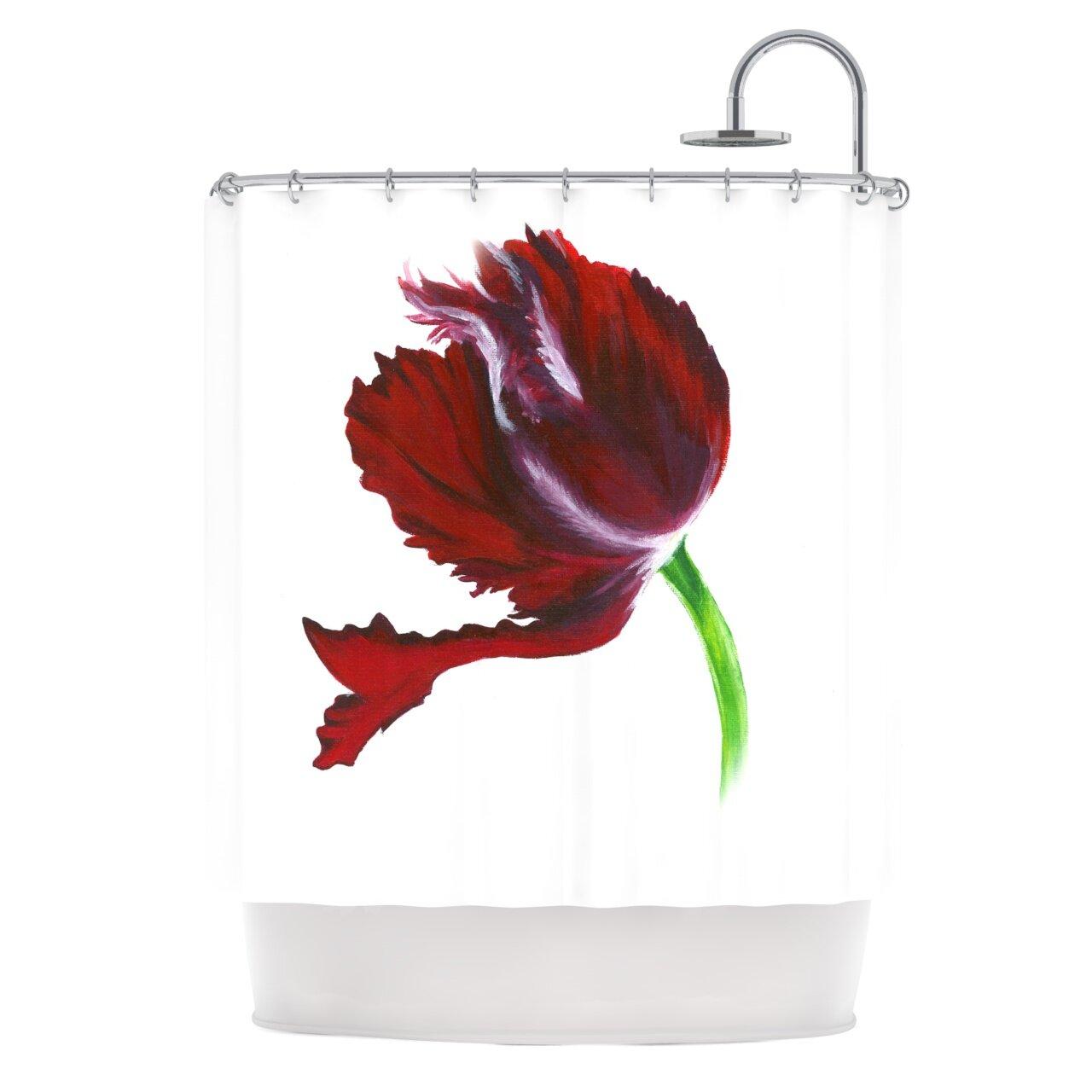 KESS InHouse Dark Purple Tulip Shower Curtain