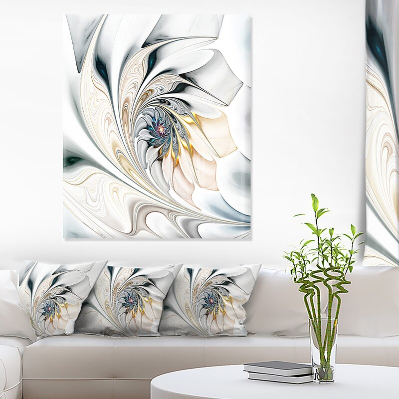 DesignArt Floral White Stained Glass Floral Art Graphic Art on