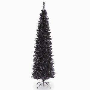 tinsel trees 6 black tinsel artificial christmas tree with metal stand - Black Christmas Trees