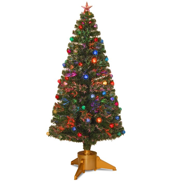 Christmas Trees Fibre Optic Part - 45: Fibre Optic 6u0027 Green Firework Artificial Christmas Tree With Halogen Multi  Light And Stand