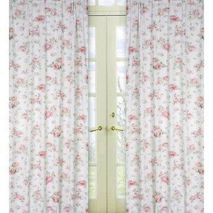 Rileys Roses Nature Floral Semi Sheer Rod Pocket Curtain Panels Set Of 2