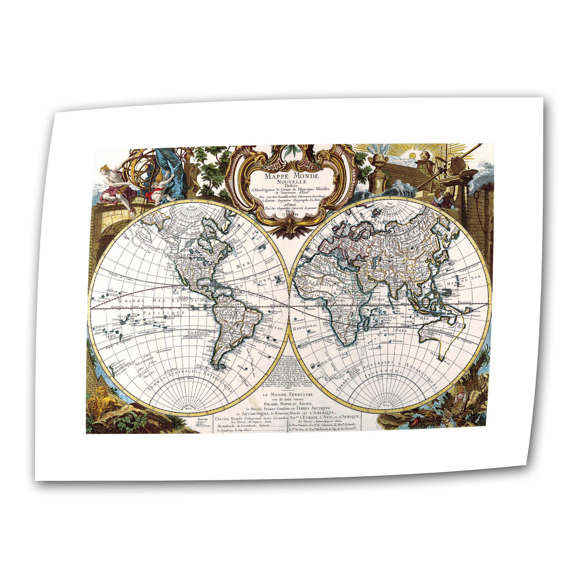 Artwall antique antique world map circa 1499 graphic art on rolled artwall antique antique world map circa 1499 graphic art on rolled canvas wayfair gumiabroncs Gallery