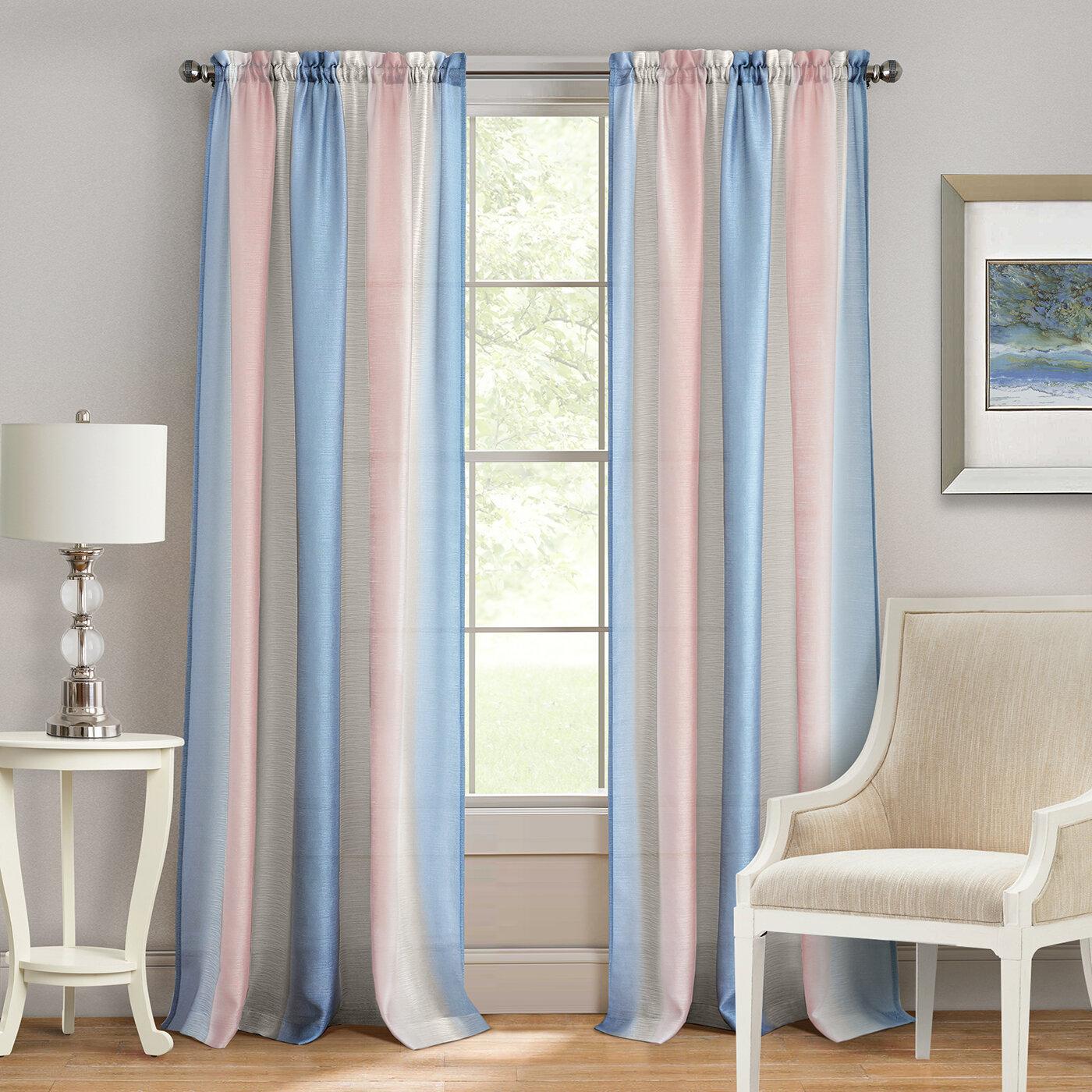 Shields Elegant Striped Semi Sheer Rod Pocket Curtain Panels