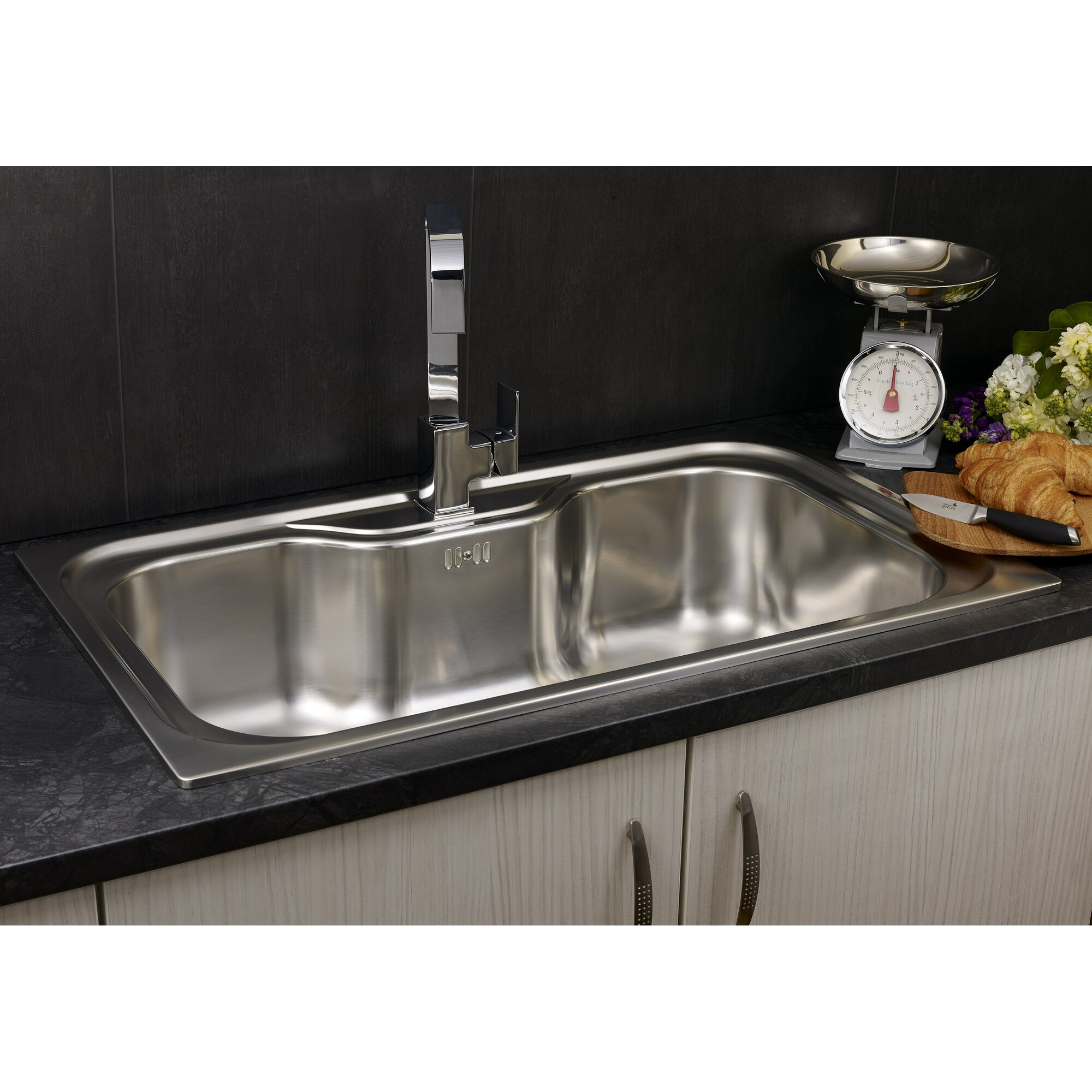 116 cm stainless steel double bowl single drainer inset sink right - Jumbo 86cm X 51cm Single Bowl Inset Kitchen Sink