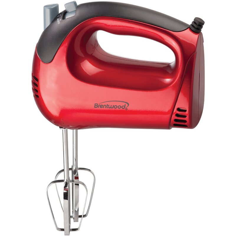 Brentwood 5 Speed Hand Mixer  Color: Red