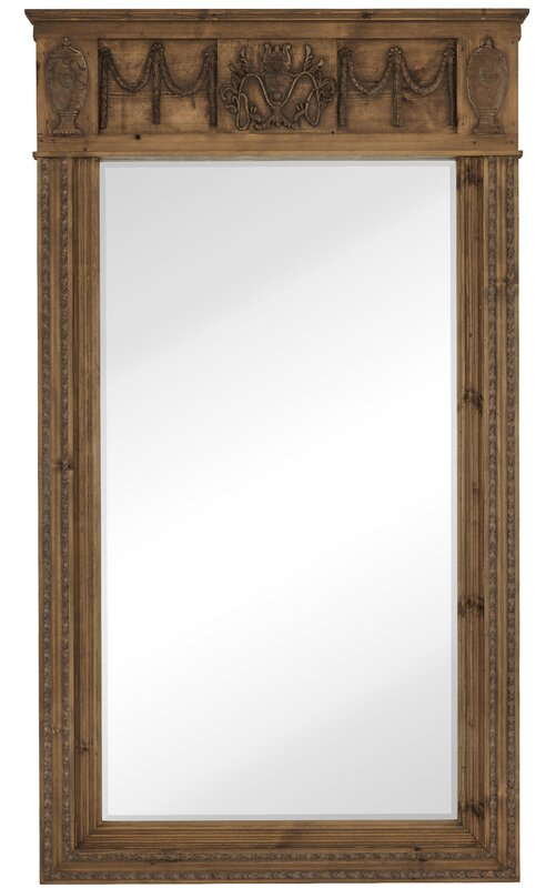 decorative floor leaner mirror with natural wood frame - Mirror Wood Frame