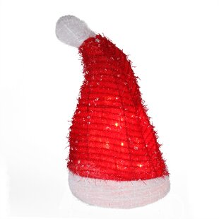 257187074a0996 Lighted Iced Tinsel Santa Hat Christmas Tree Topper