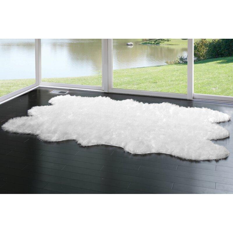 Willa Arlo Interiors Anvi Faux Fur White Area Rug