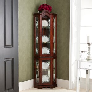 Glacier Lighted Corner Curio Cabinet by R..