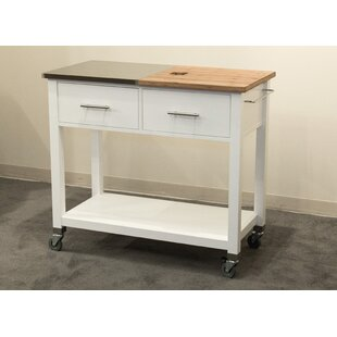 Lemasters Kitchen Island Stainless Steel/Bamboo Top