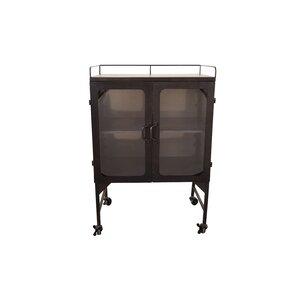 Kanan Metal and Glass Cabinet Bar Cart by 17 Stories