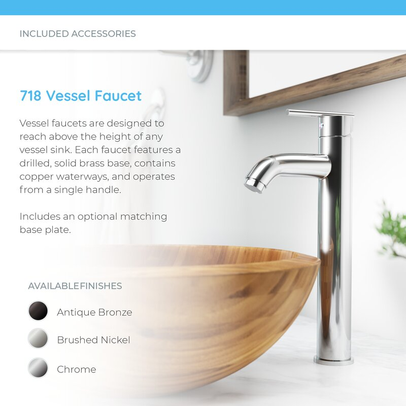 Bamboo Circular Vessel Bathroom Sink with Faucet
