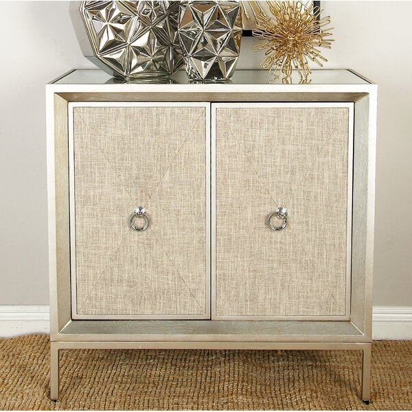 2 Door Wood And Metal Mirror Accent Cabinet Amp Reviews