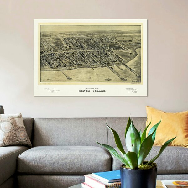East Urban Home Bird S Eye View Map Of Coney Island 1906 Graphic Art Print On Canvas Wayfair