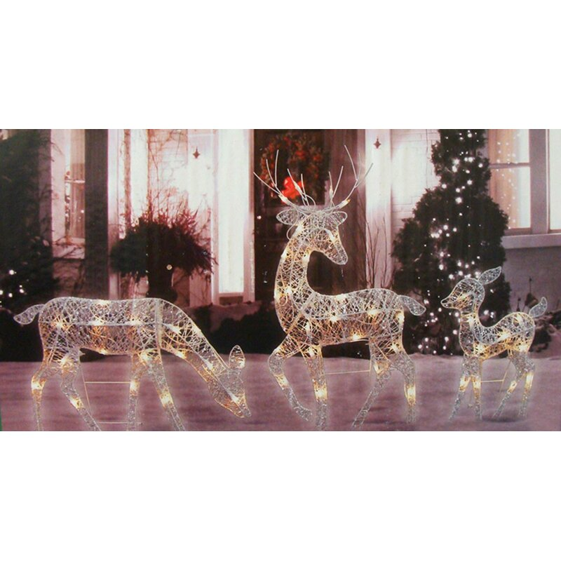 3 piece glittered doe fawn and reindeer lighted christmas figurine set