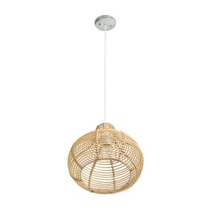 Niamh Continuous Weave Wicker Dome 1 Light Teardrop Pendant