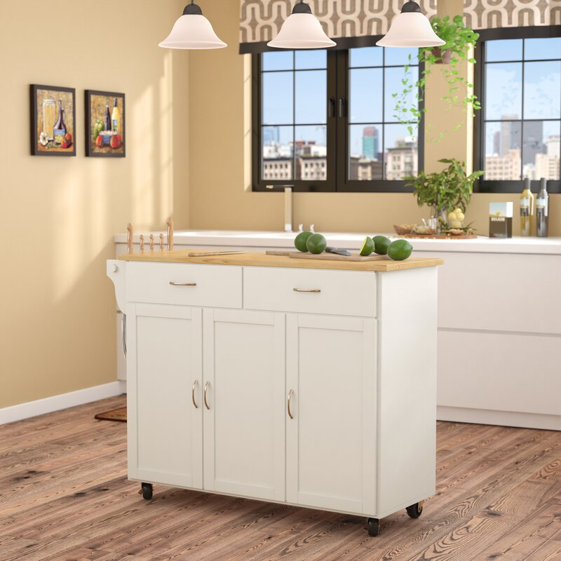 9 Standout Kitchen Islands: Alcott Hill Sayers Kitchen Island With Wood Top & Reviews