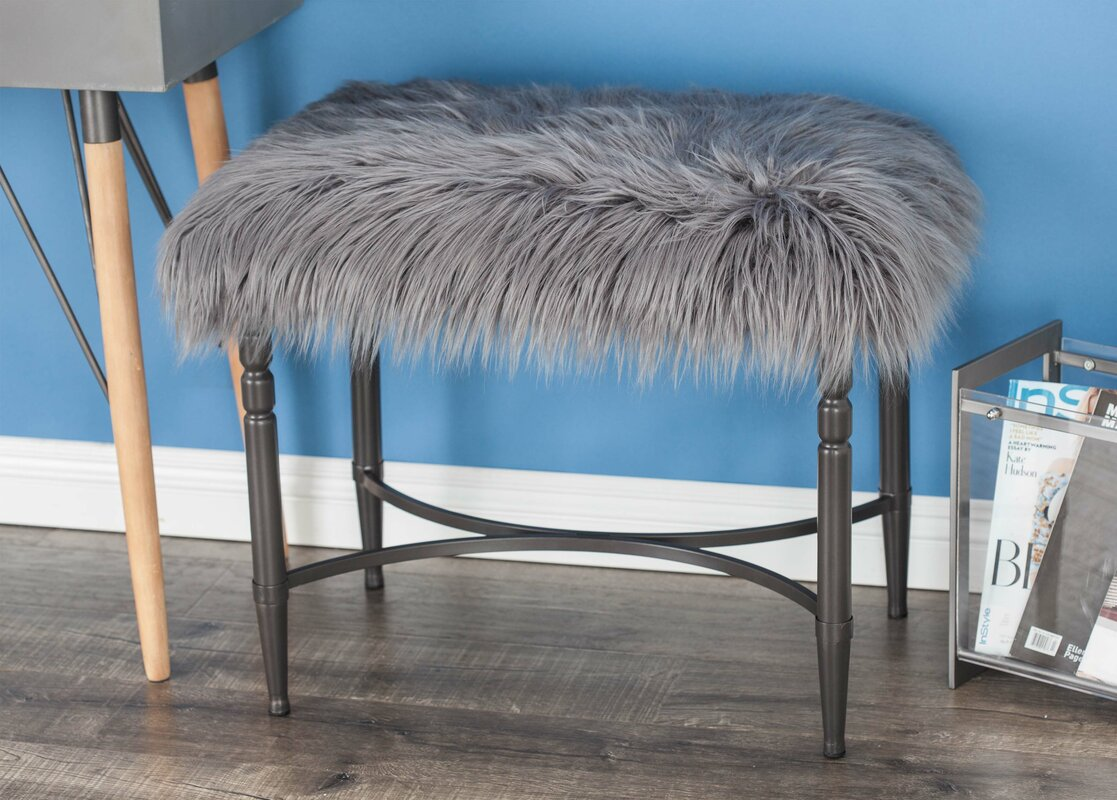 Cole \u0026 Grey Metal Faux Fur Accent Stool \u0026 Reviews | Wayfair