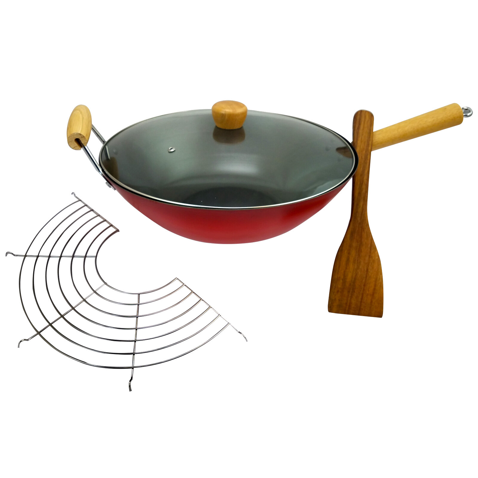 Cocina Carbon | Cocina 14 Gran Via Carbon Steel Wok Set With Lid Rack And Spatula