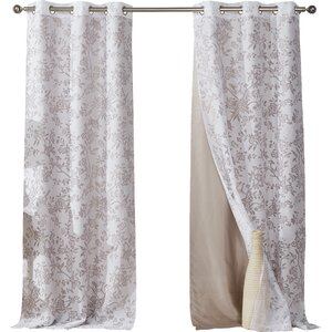 Luisa Nature/Floral Semi-Sheer Grommet Curtain Panels (Set of 2)