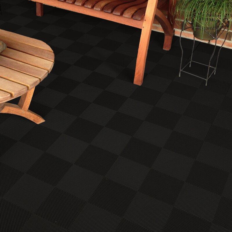Blocktile 12 X 12 Deck And Patio Flooring Tile In Black Wayfair