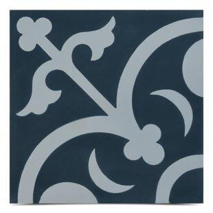 Nador Handmade 8 X Cement Field Tile In Navy Blue White