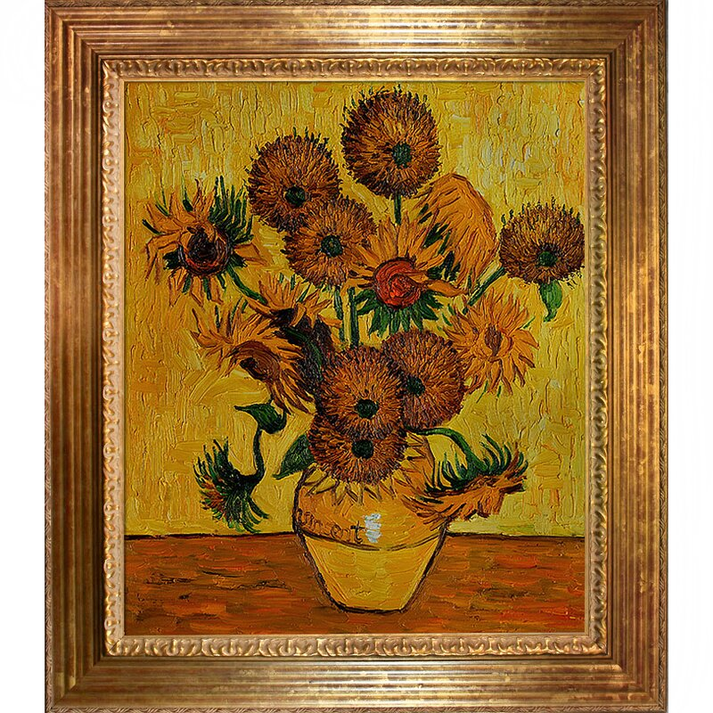 Wildon Home ® Vase with Fifteen Sunflowers by Vincent Van Gogh Framed Painting & Reviews | Wayfair