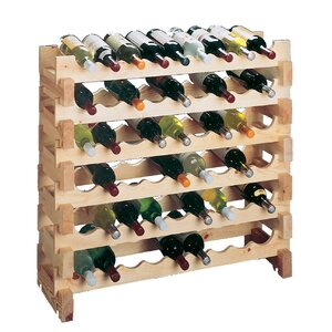 Country Pine 9 Bottle Floor Wine Rack (Set of 2)