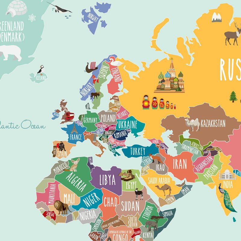 Simpleshapes countries of the world map poster wall decal countries of the world map poster wall decal gumiabroncs Gallery