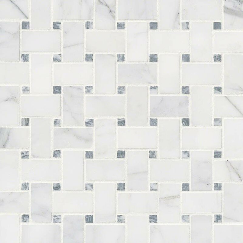 Calacatta Cressa Basketweave Honed Marble Mosaic Tile in White. MSI Calacatta Cressa Basketweave Honed Marble Mosaic Tile in White
