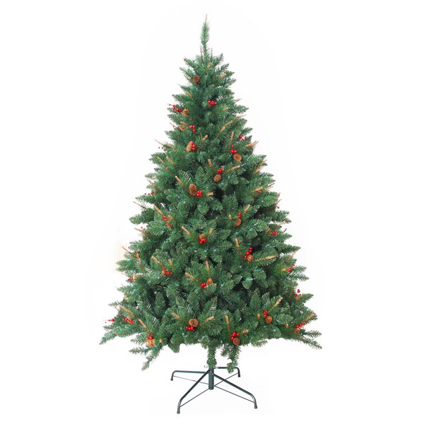 Artificial Christmas Tree Warehouse: Jeco Inc. Pre-Lit 7' Green Berrywood Pine Artificial