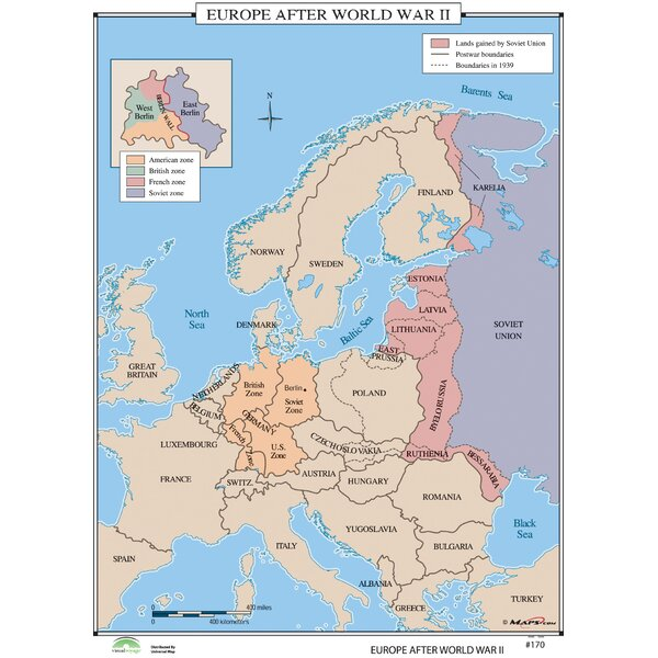 Universal Map World History Wall Maps   Europe after World War II