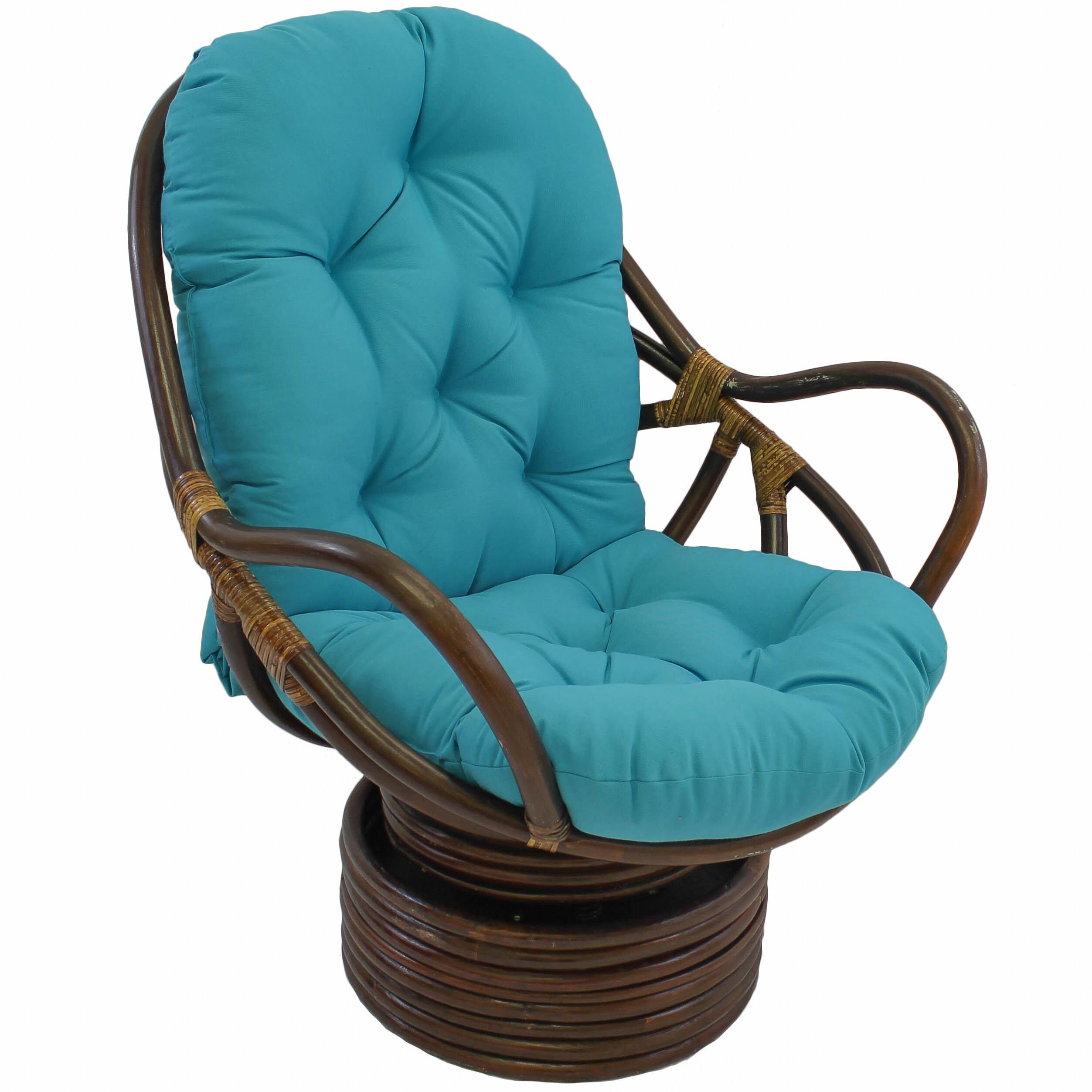 Bungalow Rose Benahid Outdoor Rattan Swivel Chair With Cushion U0026 Reviews |  Wayfair