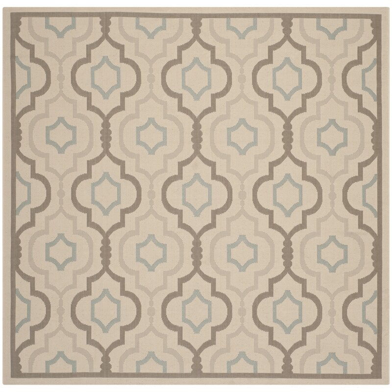 Alcott Hill Asheville Beige/Gray Indoor/Outdoor Area Rug, Size: Square 710