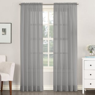 gray and white curtain panels gray wall match emily solid sheer rod pocket single curtain panel gray and silver curtains drapes youll love wayfair