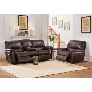 Deverell 2 Piece Leather Reclining Living Room Set by World Menagerie