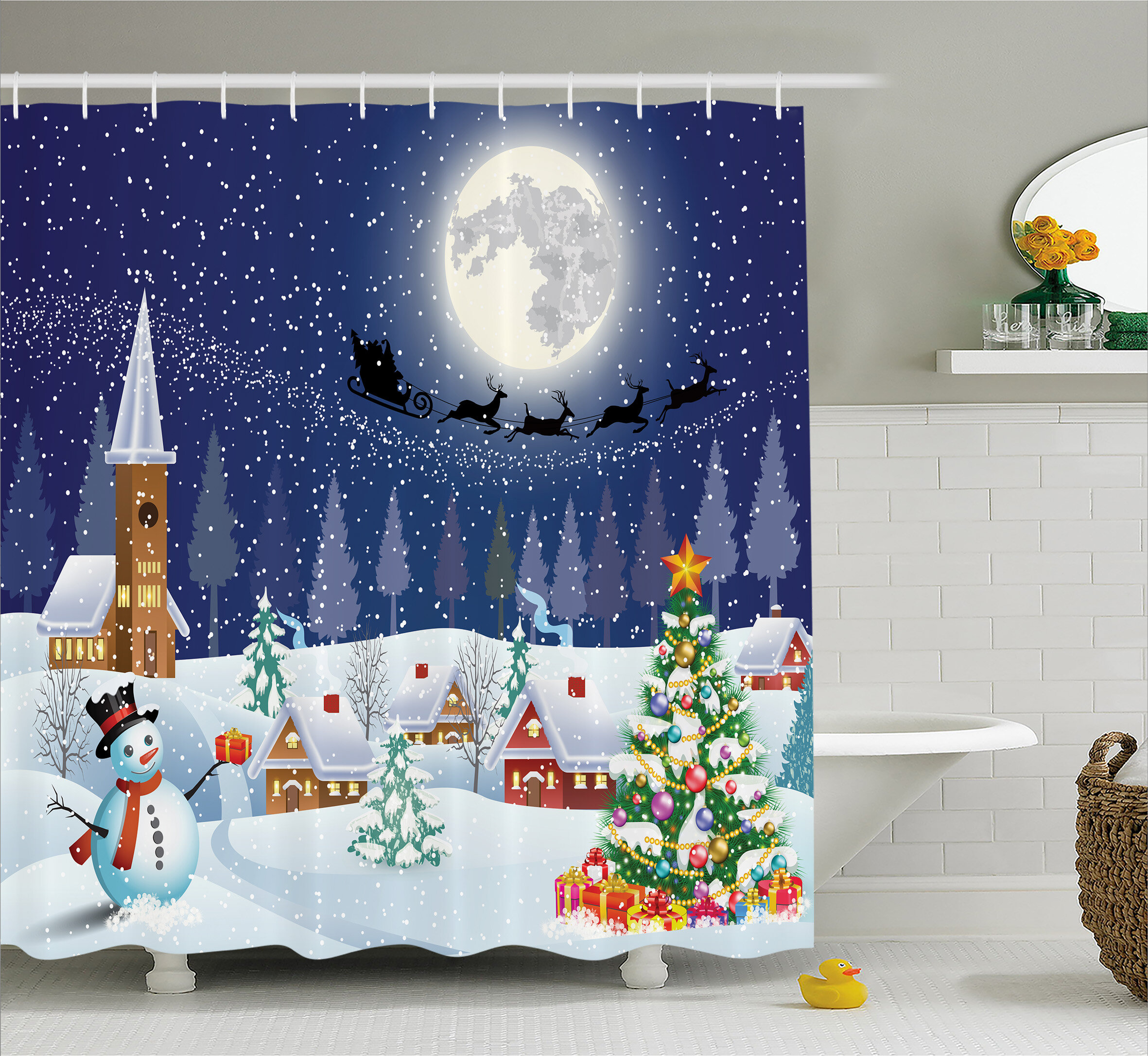 The Holiday Aisle Christmas Winter Landscape Shower Curtain Reviews