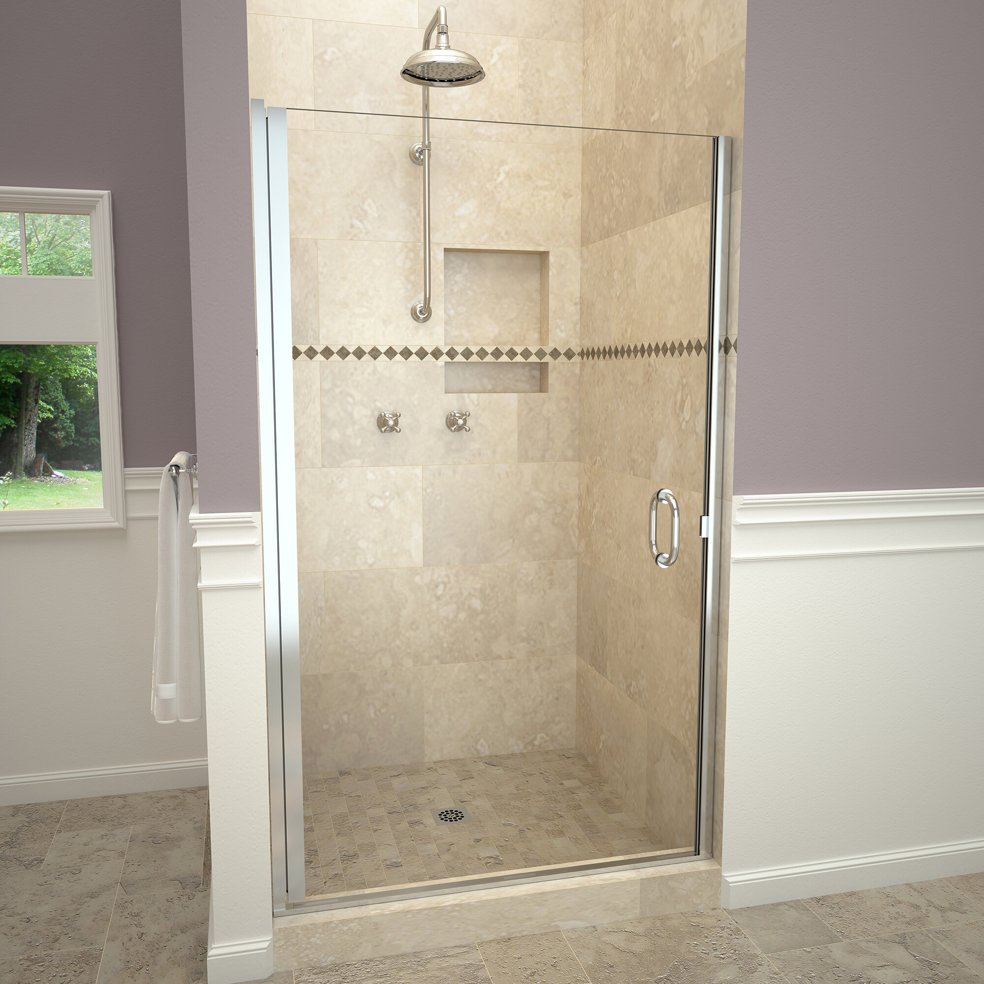 Tile Redi 1200 Series Swing 34 X 76 Pivot Semi Frameless Shower