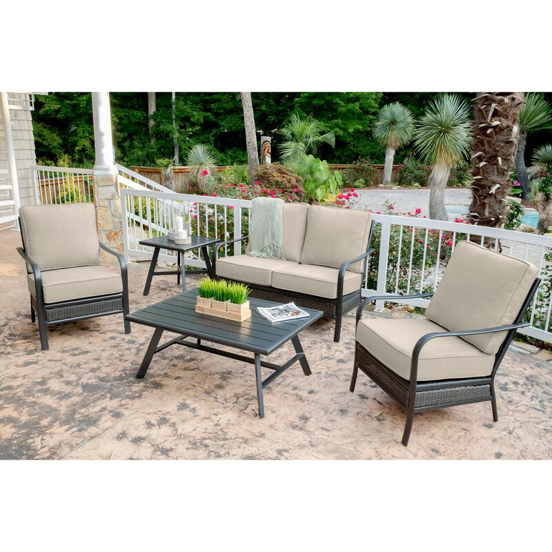 Charlton Home Becerra 5 Piece Commercial Grade Patio Set With 2  Aluminum/Woven Club Chairs, Loveseat, Slat Coffee Table And Slat Side Table    Wayfair