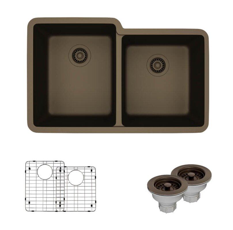 engineered stone 33   x 20   undermount kitchen sink with hardware ren  byelkay engineered stone 33   x 20   undermount kitchen sink      rh   wayfair com